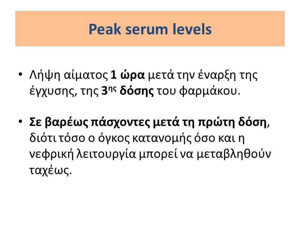 Γενταμικίνη στην ενδοκαρδίτιδα Στην ενδοκαρδίτιδα από εντερόκοκκο προκειμένου να επιτευχθεί συνέργεια με την αμπικιλλίνη και να αποφευχθεί συγχρόνως η νεφροτοξικότητα, αρκούν μέγιστα επίπεδα 3μg/ml και ελάχιστα επίπεδα ≤0,5μg/ml