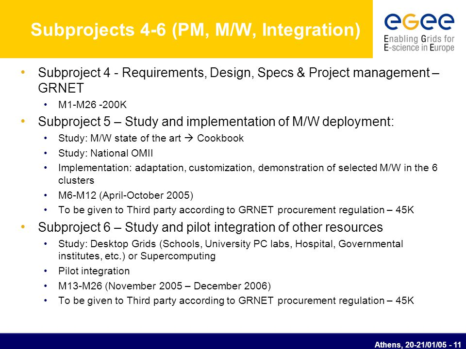 Athens, 20-21/01/05 - 12 Subprojects 7-8 (Storage – Security) Subproject 7 - Distributed Storage and data replication Study: Provisioning of distributed storage and replication architecture Implementation: Middleware deployment and customization (e.g.