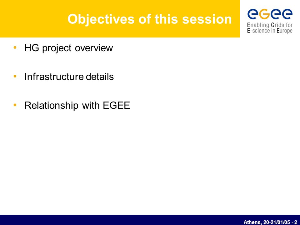Athens, 20-21/01/05 - 3 Hellasgrid project overview OPIS Area: 2.1 eGovernment for the citizen Category 3: Pilot and innovative applications Title: Design and development of pilot infrastructures and advanced Grid-enabled services – HellasGrid Budget:1,78 Million Euros Duration:26 months (start date 01/11/04)
