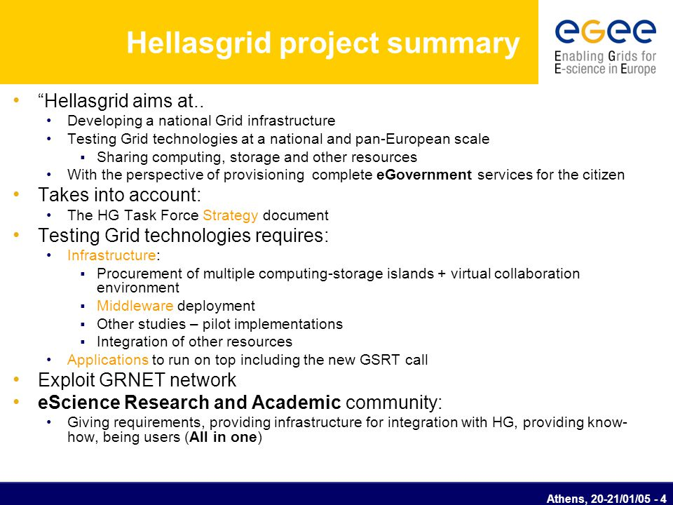 Athens, 20-21/01/05 - 5 Hellasgrid project objective Hellasgrid objective is the creation of a reliable infrastructure on which technologically advanced distributed applications could run with emphasis on the exploitation of the citizens E.g.