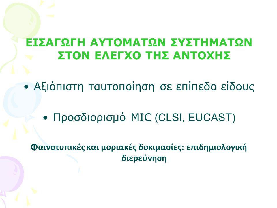 Καρβαπενέμες (CLSI) CLSI 2009/2011 mg/L S≤ I ≥R ERTAPENEM 2 /0.5 4/1 8/4 IMIPENEM 4/1 8/2 16/4 MEROPENEM 4/1 8/2 16/4