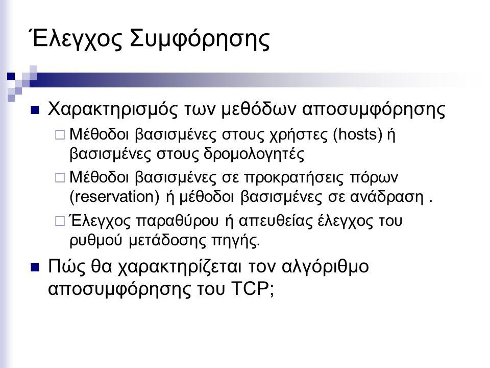 Πολιτικές Επιπέδων και Έλεγχος Συμφόρησης Επίπεδο Μεταφοράς  Πολιτική επαναμετάδοσης  Πακέτα εκτός σειράς  Επαληθεύσεις  Έλεγχος ροής  Υπολογισμός λήξης χρονομέτρων Επίπεδο Δικτύου  Εικονικά κυκλώματα ή δίκτυα πακέτων  Πολιτικές αποθήκευσης μετάδοσης (buffering and scheduling)  Απώλεια πακέτων  Αλγόριθμος δρομολόγησης  Μέγιστη ζωή πακέτων στο δίκτυο Επίπεδο ζεύξης δεδομένων  Πολιτική επαναμετάδοσης  Πακέτα εκτός σειράς  Επαληθεύσεις  Έλεγχος ροής