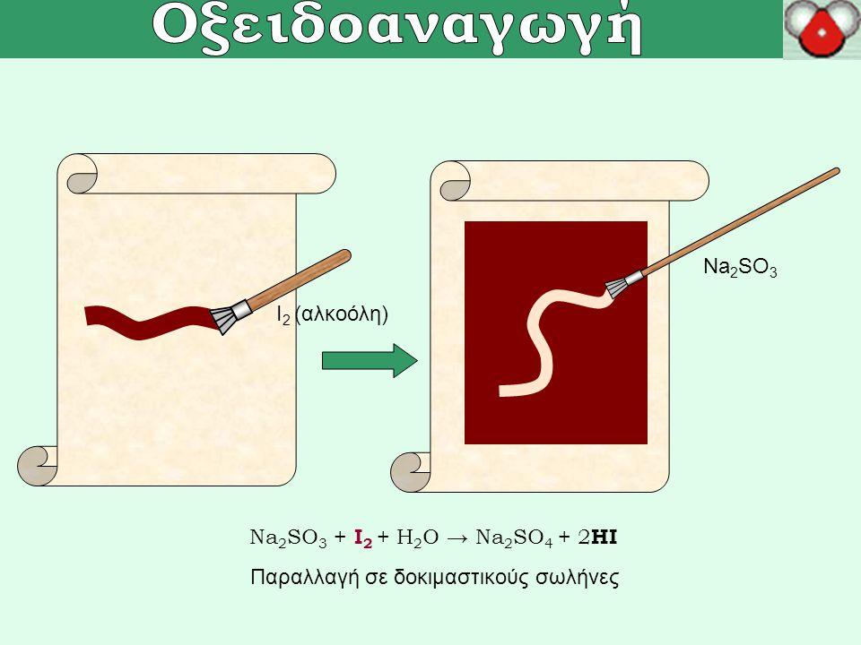 Οξειδοαναγωγική ογκομέτρηση ΚMnO 4 H 2 O 2, H + 2KMnO 4 + 5H 2 O 2 + 3H 2 SO 4 → K 2 SO 4 + 2MnSO 4 +5O 2 +8H 2 O 0,05M KMnO 4 5g Η 2 Ο 2 εμπορίου (~3%) → 250mL Ογκομετρώ 25mL + 3mL H 2 SO 4 (π) Απαιτούνται περίπου 3-4mL