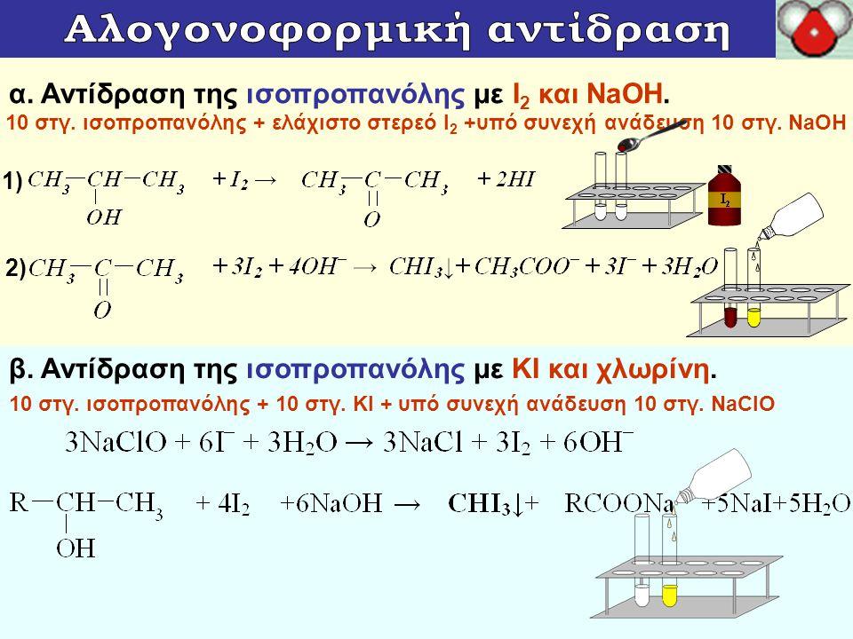 γ.Αντίδραση της αιθανόλης του βάμματος ιωδίου με NaOH.