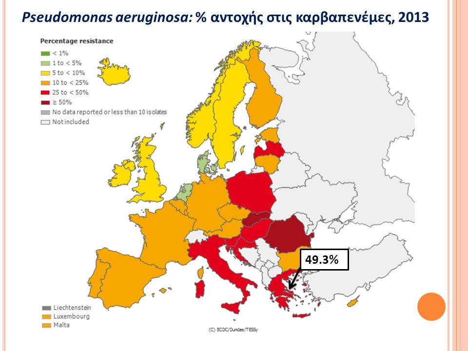 ≥20% σε 12 από 23 EU χώρες Αντοχή σε πολυμυξίνες (colistin): 5% Ερμηνεία αποτελεσμάτων με προσοχή Μείωση θεραπευτικών επιλογών Acinetobacter spp.: διακύμανση % αντοχής με υψηλότερα ποσοστά στη Nότια Ευρώπη EARS-Net 2013 Αντοχή σε φλουροκινολόνες, αμινογλυκοσίδες και καρβαπενέμες % αντοχής