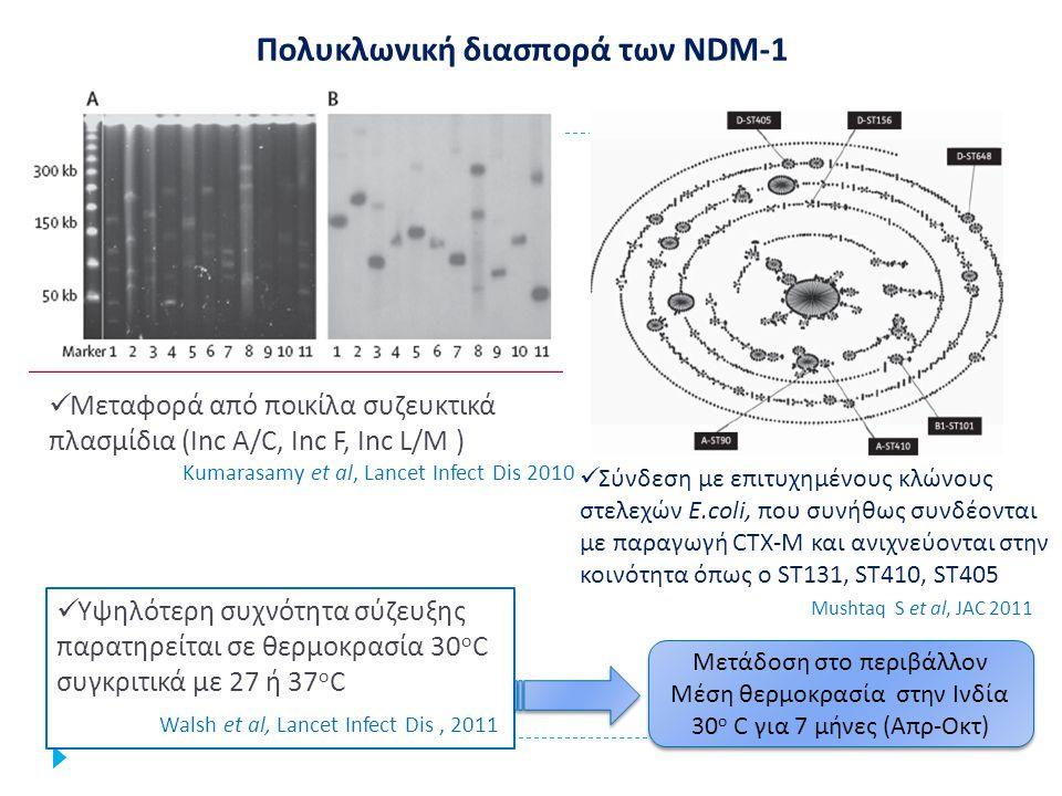 Ποιο το γενετικό περιβάλλον του γονιδίου bla ΟΧΑ-48 ; Το γονίδιο OXA-48 φέρεται σε τρανσποζόνιο Τn1999, πάνω σε συζευκτικό πλασμίδιο IncL/M ~70kb Η διασπορά των ΟXΑ-48 σε στελέχη εντεροβακτηριακών συνδέεται με συγκεκριμένο τύπο πλασμιδίου με υψηλή συζευκτική ικανότητα Γονίδιο ΟΧΑ-48 ανιχνεύθηκε στο χρωμόσωμα λοιμογόνου στελέχους Ε.
