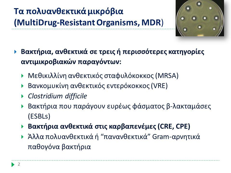 Γιατί έχει ιδιαίτερη σημασία ο έλεγχος διασποράς των λοιμώξεων από πολυανθεκτικά (MDR) βακτήρια; 3  Προκαλούν σοβαρές λοιμώξεις που δύσκολα αντιμετωπίζονται - Πολύ περιορισμένες θεραπευτικές επιλογές  Κύρια αιτία θνητότητας: Στην ΕΕ 25.000 καταλήγουν από λοιμώξεις από πολυανθεκτικά βακτήρια Management of Multidrug-Resistant Organisms In Healthcare Settings, 2006; ANTIBIOTIC RESISTANCE THREATS in the United States, 2013