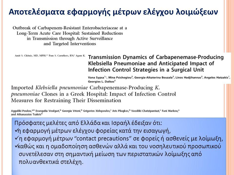 Η Συμβολή των μέτρων ελέγχου λοιμώξεων: το παράδειγμα από Ελληνικό νοσοκομείο με μεγάλο αριθμό εισαγωγών από ασθενείς με πολυανθεκικά βακτήρια (2009-2011) Implementation of infection control measures January 2010 Additional infection control measures, active surveillance January 2011 Poulou A.