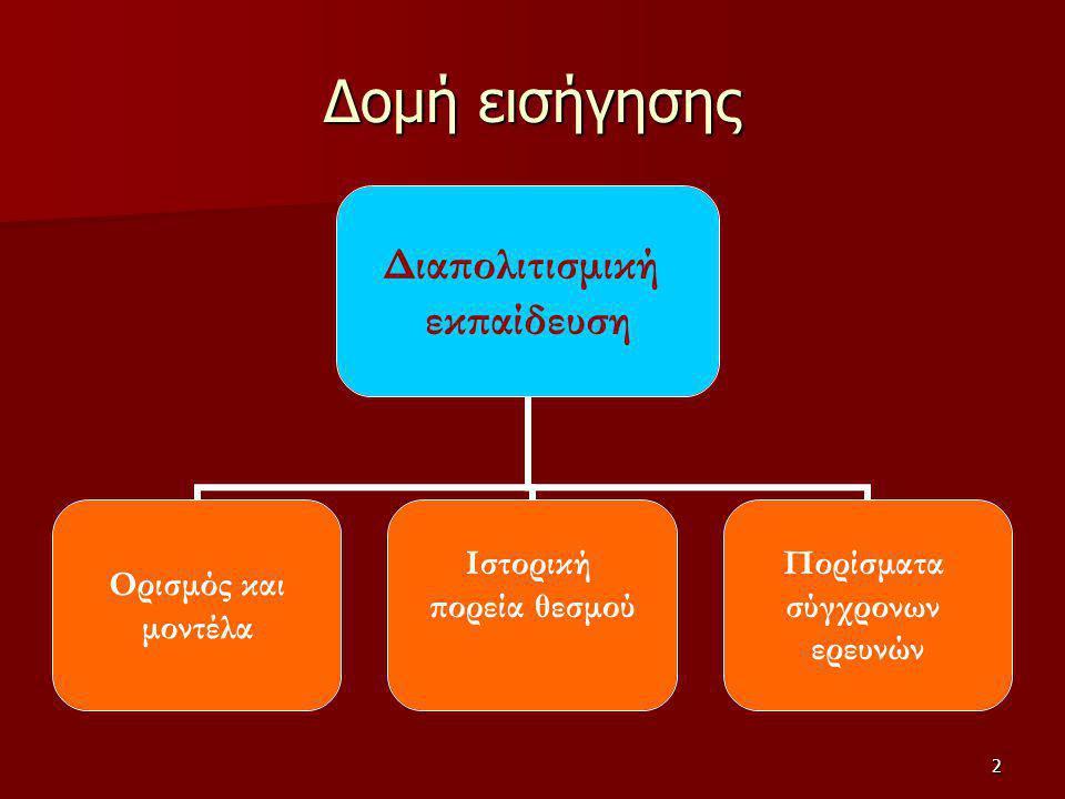 3 Ορισμός Διαπολιτισμική είναι η εκπαίδευση που προσφέρεται σε άτομα με διαφορετική εθνοπολιτισμική ταυτότητα, προσπαθώντας να ανταποκριθεί στις υποχρεώσεις που απορρέουν από την πολιτισμική ανομοιογένειά της σε επίπεδο γλωσσικό, θρησκευτικό και εθνικής ιδιαιτερότητας (Ταρατόρη/Μασάλη, 2005)