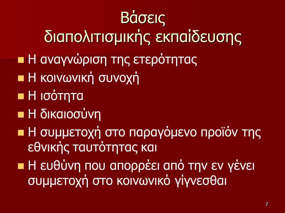 8 Ιστορική εξέλιξη της Διαπολιτισμικής Εκπαίδευσης στην Ελλάδα Πρώτη περίοδος: 1977-1979 Πρώτη περίοδος: 1977-1979 Δεύτερη περίοδος: 1980-1998 Δεύτερη περίοδος: 1980-1998 Τρίτη περίοδος: 1999-σήμερα Τρίτη περίοδος: 1999-σήμερα