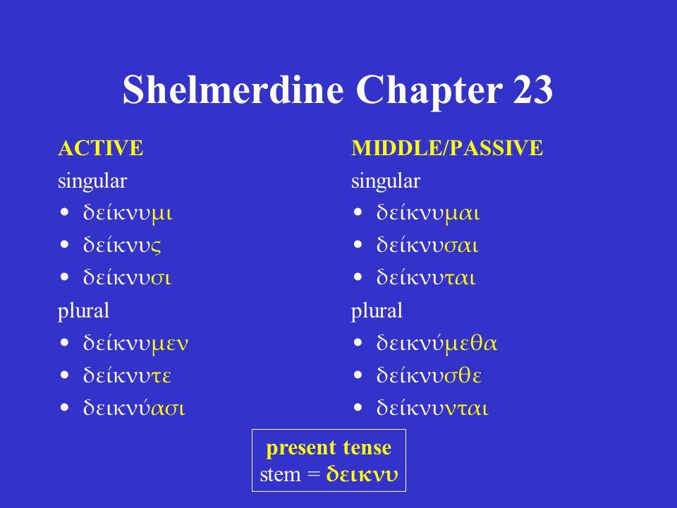 Shelmerdine Chapter 23 ACTIVE singular τίθημι τίθης τίθησι plural τίθεμεν τίθετε τιθέασι MIDDLE/PASSIVE singular τίθεμαι τίθεσαι τίθεται plural τιθέμεθα τίθεσθε τίθενται present tense stem = τιθε η for ε