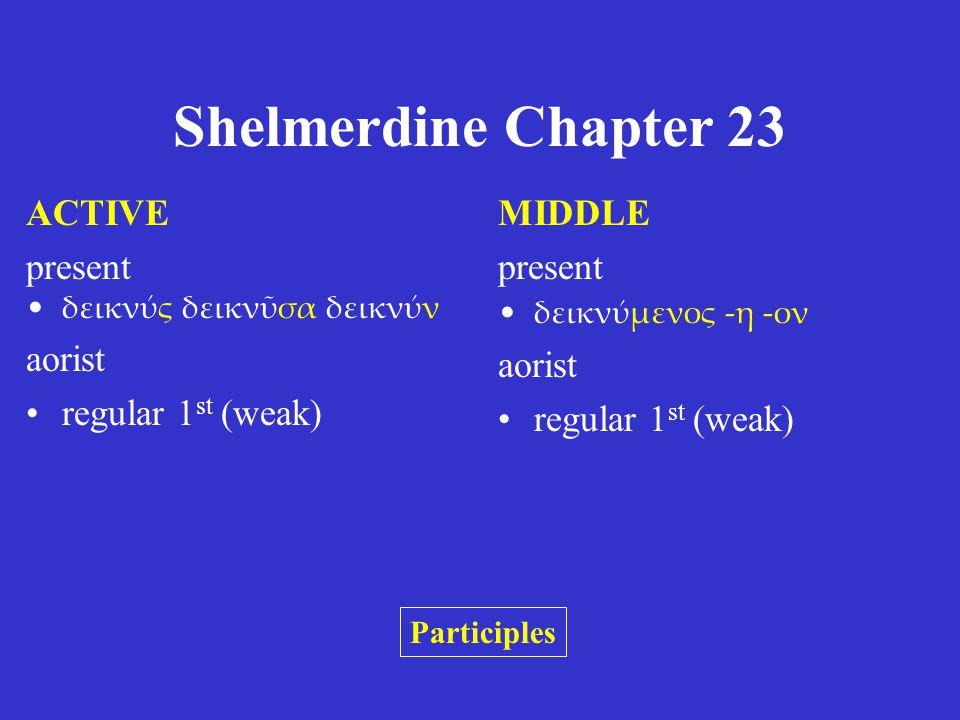 Shelmerdine Chapter 23 ACTIVE present τιθείς τιθεῖσα τιθέν aorist θείς θεῖσα θέν MIDDLE present τιθέμενος -η -ον aorist θέμενος -η -ον Participles The active forms are like the regular aorist passive (Chapter 22.3).