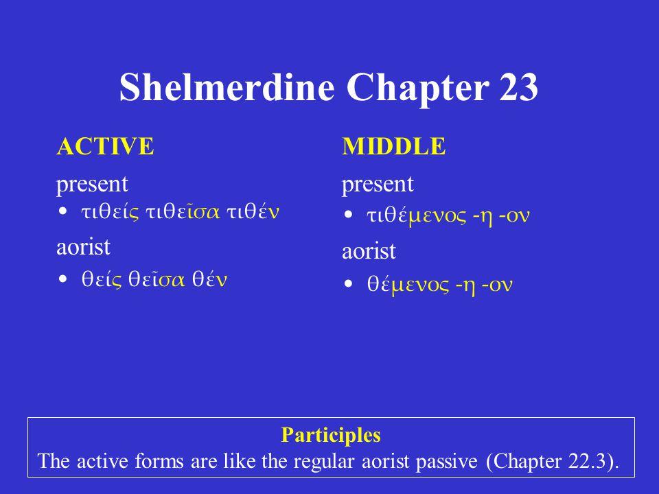 Shelmerdine Chapter 23 ACTIVE present ἱστάς ἱστᾶσα ἱστάν aorist στάς στᾶσα στάν MIDDLE present ἱστάμενος -η -ον aorist --- Participles The active forms resemble πᾶς πᾶσα πᾶν.