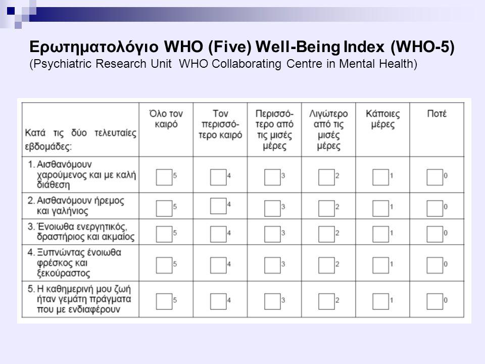 Βαθμολόγηση του ερωτηματολογίου Αθροίζονται οι επιμέρους βαθμολογίες των 5 ερωτήσεων.