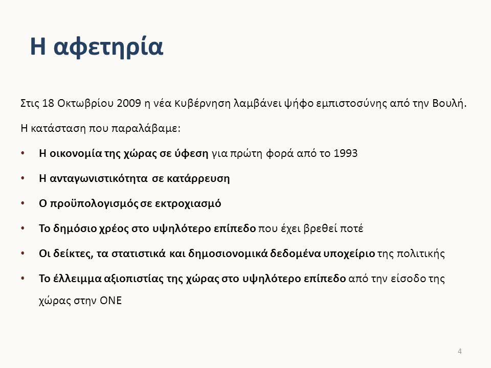 Οι στόχοι μας Οι στόχοι του ο ικονομικού μας προγράμματος: Η διάσωση της οικονομίας, η απρόσκοπτη πρόσβαση σε δανεισμό για την αναχρηματοδότηση του χρέους και της λειτουργίας του κράτους Η ανάκτηση της αξιοπιστίας της Ελλάδας, των στατιστικών και των πολιτικών της Η ανάταξη της οικονομικής δραστηριότητας, η ενίσχυση της ανταγωνιστικότητας και η δημιουργία μιας νέας δυναμικής πορείας ανάπτυξης Η αποκατάσταση των δημοσίων οικονομικών, η βιώσιμη μείωση του ελλείμματος και η αναστροφή της δυναμικής του χρέους Η διαφάνεια στη διαχείριση του δημόσιου χρήματος και του κρατικού προϋπολογισμού Η δίκαιη αναδιανομή μέσα από ένα δίκαιο, απλό, διαφανές και αποτελεσματικό φορολογικό σύστημα Η προστασία των ασθενέστερων από τις επιπτώσεις της οικονομικής κρίσης Η δημιουργία μιας νέας σχέσης εμπιστοσύνης του πολίτη με το κράτος 5