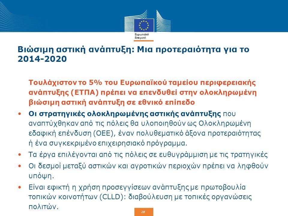 29 ΟΕΕ: Συνδυασμός ταμείων και προγραμμάτων Περιφερειακό ΕΠ-ΕΤΠΑΕθνικό ΕΠ-ΕΤΠΑΕΠ-ΕΚΤ ΕΝΔΙΑΜΕΣΟΣ ΦΟΡΕΑΣ + συμπληρωματική χρηματοδότηση από το ΕΤΠΑ και/ή το ΕΤΘΑ (αστική) περιοχή I T I