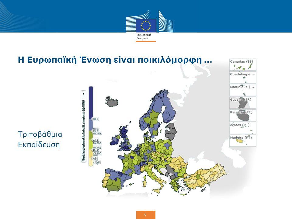 6 Γιατί χρειάζεται η ΕΕ μια πολιτική συνοχή; ΑνώτεροΚατώτεροΑναλογία ΑΕγχΠ ανά άτομο (% μέσου όρου ΕΕ-28) Λουξεμβούργο 266% Βουλγαρία 47% 5,7* Ποσοστό απασχόλησης (%, ηλικίες 20-64) Σουηδία 79,8% Ελλάδα 53,2% 1,51,5 * Στις Ηνωμένες Πολιτείες, η διαφορά είναι μόνο 2,5 και στην Ιαπωνία 2 Η πολιτική συνοχής στοχεύει να μειώσει τις ανισότητες μεταξύ των περιφερειών της ΕΕ ώστε να επιτευχθεί μια ισορροπημένη οικονομική, κοινωνική και εδαφική ανάπτυξη.