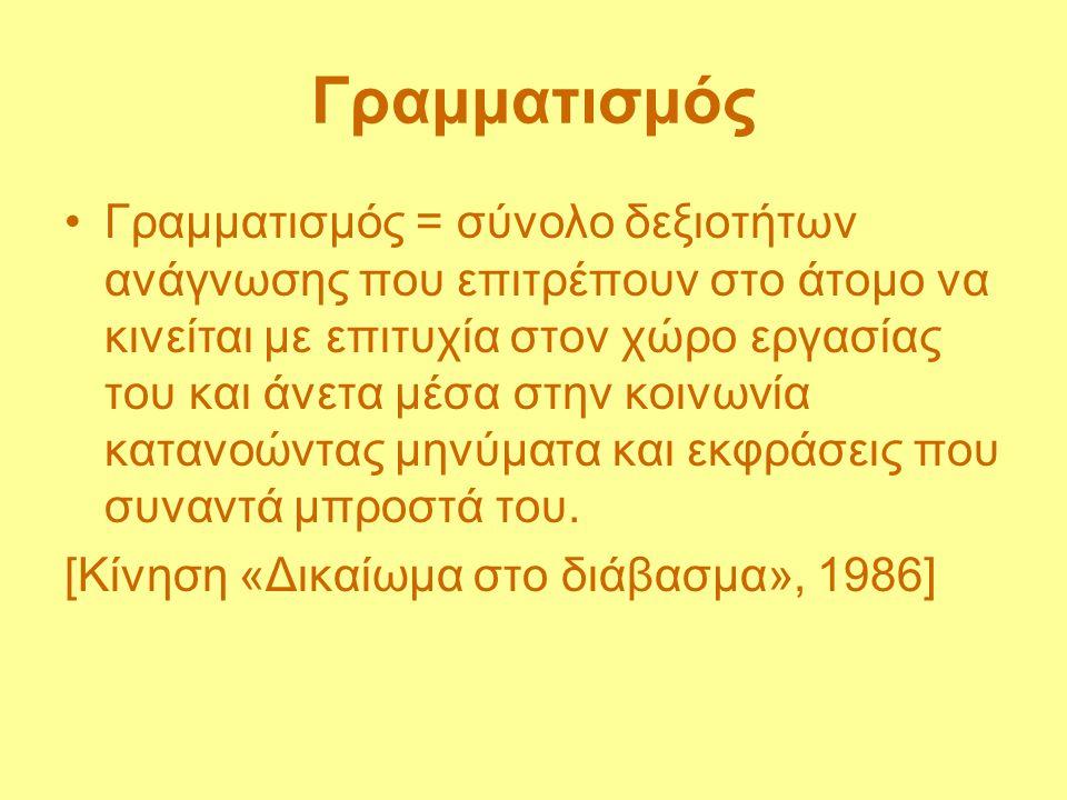 Γραμματισμός Γραμματισμός = ικανότητα ελέγχου της ζωής και του περιβάλλοντος διά του λόγου, με τρόπο ορθολογικό.