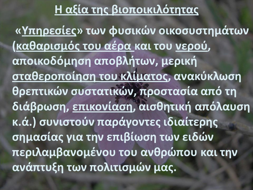 Η αξία της Βιοποικιλότητας Οι βιολογικοί πόροι και η ποικιλία τους με τα «αγαθά» που εξασφαλίζουν (τροφή, φαρμακευτικές ουσίες, ξυλεία, καύσιμα, βιομηχανικές πρώτες ύλες κ.ά.) Ποικιλότητα ειδών