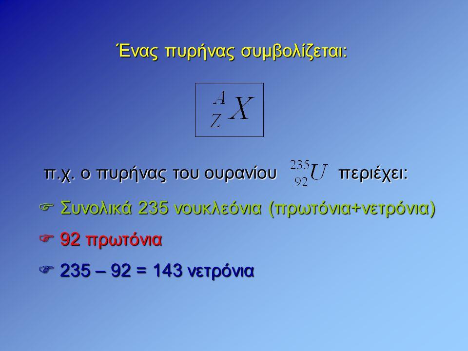  Ισότοποι λέγονται οι πυρήνες που έχουν ίδιο ατομικό αριθμό Ζ (ίδιο αριθμό πρωτονίων), αλλά διαφορετικό μαζικό Α (δεν έχουν ίδιο αριθμό νετρονίων) π.χ.