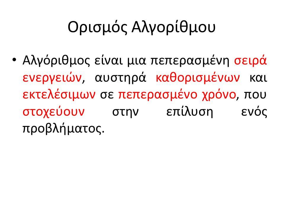 Η έννοια του αλγορίθμου Η έννοια του αλγορίθμου δεν συνδέεται αποκλειστικά και μόνο με προβλήματα της Πληροφορικής.