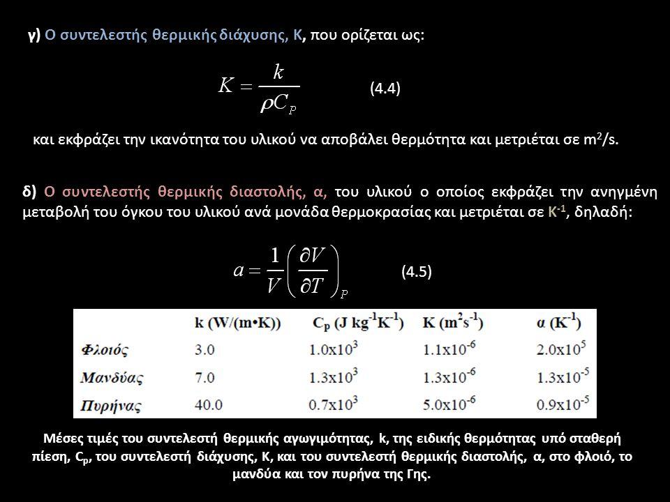 γ) Ο συντελεστής θερμικής διάχυσης, Κ, που ορίζεται ως: (4.4) και εκφράζει την ικανότητα του υλικού να αποβάλει θερμότητα και μετριέται σε m 2 /s.