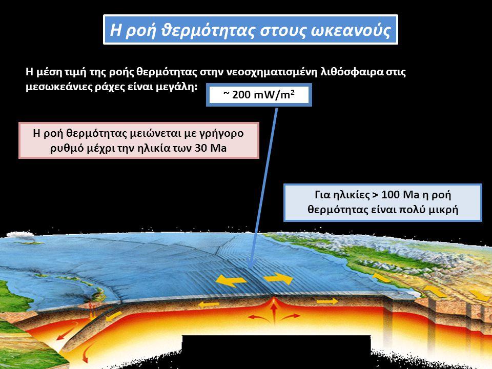 Η μέση τιμή της ροής θερμότητας στην νεοσχηματισμένη λιθόσφαιρα στις μεσωκεάνιες ράχες είναι μεγάλη: ~ 200 mW/m 2 Η ροή θερμότητας μειώνεται με γρήγορο ρυθμό μέχρι την ηλικία των 30 Μa Για ηλικίες > 100 Ma η ροή θερμότητας είναι πολύ μικρή Η ροή θερμότητας στους ωκεανούς