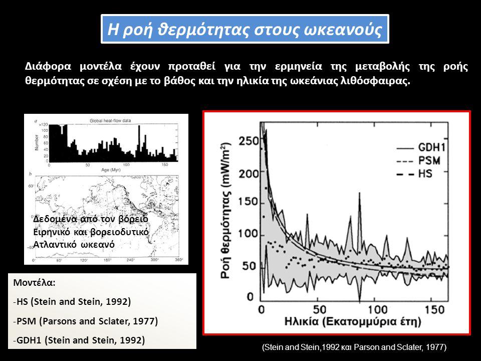 Διάφορα μοντέλα έχουν προταθεί για την ερμηνεία της μεταβολής της ροής θερμότητας σε σχέση με το βάθος και την ηλικία της ωκεάνιας λιθόσφαιρας.