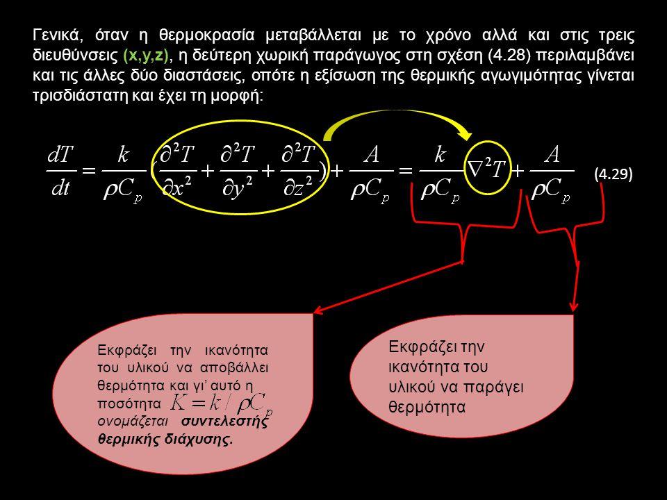 Γενικά, όταν η θερμοκρασία μεταβάλλεται με το χρόνο αλλά και στις τρεις διευθύνσεις (x,y,z), η δεύτερη χωρική παράγωγος στη σχέση (4.28) περιλαμβάνει και τις άλλες δύο διαστάσεις, οπότε η εξίσωση της θερμικής αγωγιμότητας γίνεται τρισδιάστατη και έχει τη μορφή: (4.29) Εκφράζει την ικανότητα του υλικού να αποβάλλει θερμότητα και γι' αυτό η ποσότητα ονομάζεται συντελεστής θερμικής διάχυσης.