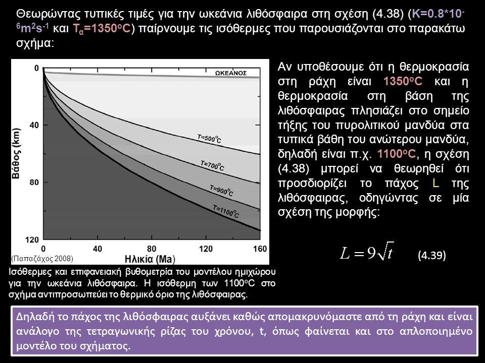 Θεωρώντας τυπικές τιμές για την ωκεάνια λιθόσφαιρα στη σχέση (4.38) (Κ=0.8*10 - 6 m 2 s -1 και Τ α =1350 o C) παίρνουμε τις ισόθερμες που παρουσιάζονται στο παρακάτω σχήμα: Αν υποθέσουμε ότι η θερμοκρασία στη ράχη είναι 1350 ο C και η θερμοκρασία στη βάση της λιθόσφαιρας πλησιάζει στο σημείο τήξης του πυρολιτικού μανδύα στα τυπικά βάθη του ανώτερου μανδύα, δηλαδή είναι π.χ.