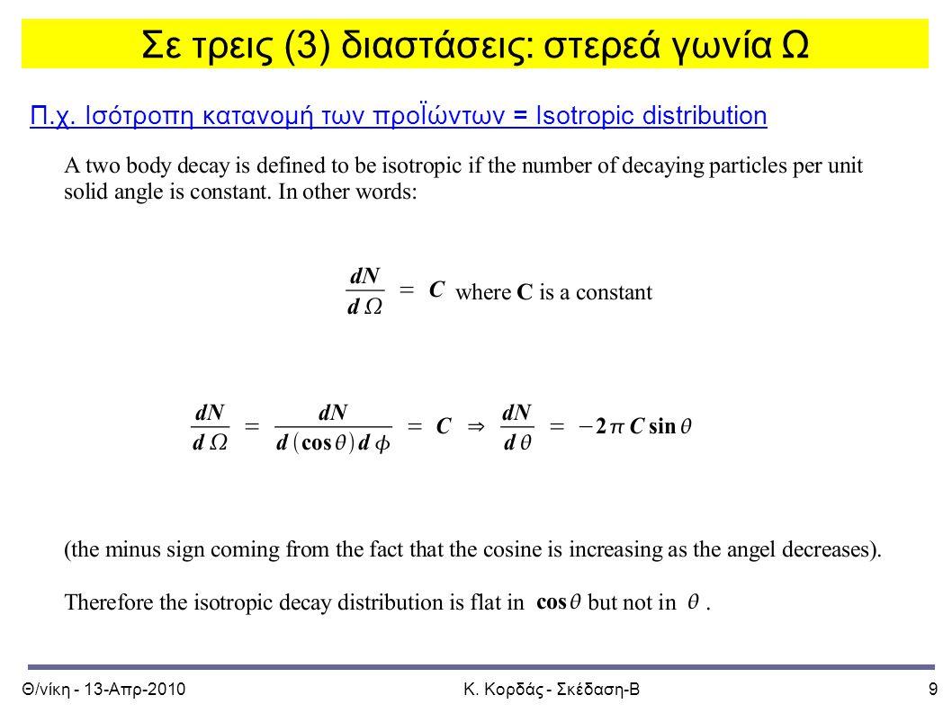 Θ/νίκη - 13-Απρ-2010Κ. Κορδάς - Σκέδαση-Β10 Isotropic distribution of products