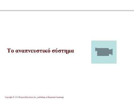 Copyright © 2004 Pearson Education, Inc., publishing as Benjamin Cummings Το αναπνευστικό σύστημα.