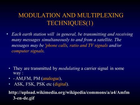 MODULATION AND MULTIPLEXING TECHNIQUES(1) Each earth station will in general, be transmitting and receiving many messages simultaneously to and from a.