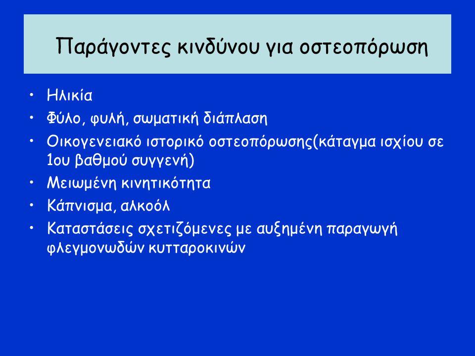 Βιοχημικοί δείκτες οστικού μεταβολισμού Μικρής πρακτικής κλινικής αξίας Χρήσιμοι για την επιλογή ασθενών με οστεοπενία που χρειάζονται θεραπεία Μάλλον χρήσιμοι για εκτίμηση ανάγκης αλλαγής θεραπείας Πλέον χρήσιμοι: -Οστικό κλάσμα αλκαλικής φωσφατάσης, οστεοκαλσίνη (οστική αναπαραγωγή) -N-τελοπεπτίδιο, D-pyrilinks (οστικός καταβολισμός)
