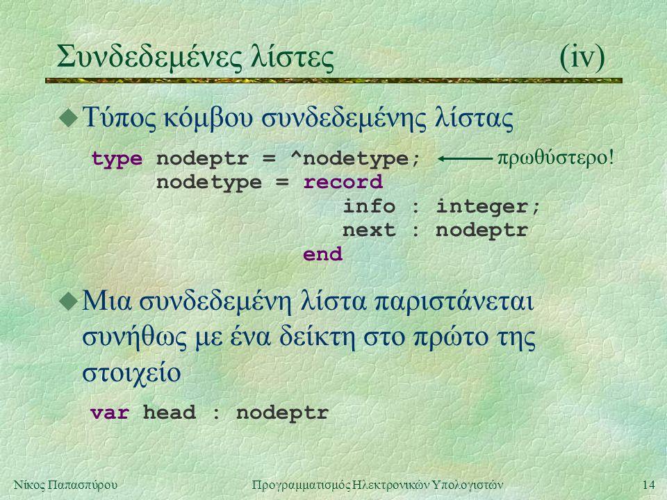 15Νίκος Παπασπύρου Προγραμματισμός Ηλεκτρονικών Υπολογιστών Συνδεδεμένες λίστες(v) u Παράδειγμα κατασκευής λίστας program linkedlist(input,output); type nodetype = record info : integer; next : ^nodetype end; var head, node : ^nodetype; data : integer;