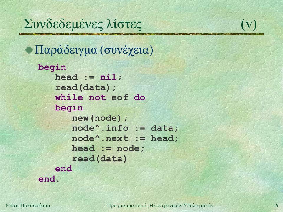 17Νίκος Παπασπύρου Προγραμματισμός Ηλεκτρονικών Υπολογιστών Συνδεδεμένες λίστες(vi) u Εκτύπωση λίστας procedure print(p : nodeptr); begin while p <> nil do begin writeln(p^.info); p := p^.next end