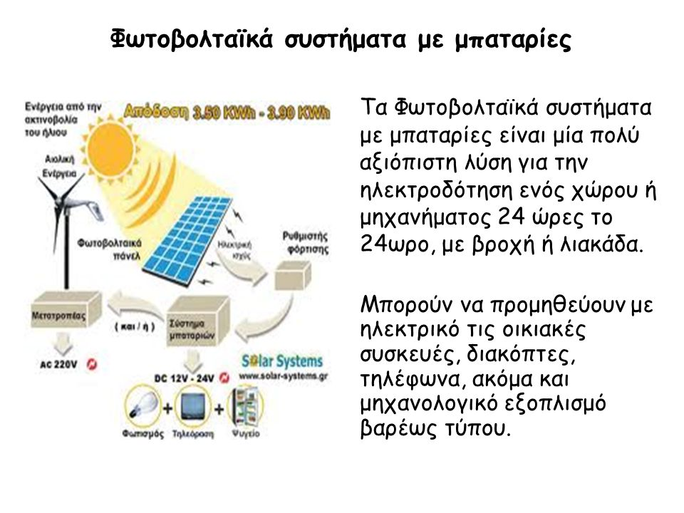 Φωτοβολταϊκό σύστημα συνδεδεμένο με τη ΔΕΗ Σε μέρη όπου ήδη υπάρχει ηλεκτρικό ρεύμα είναι εφικτή η σύνδεσή του με το Φωτοβολταϊκό μας σύστημα, συμπληρώνοντας έτσι τις ανάγκες μας σε ενέργεια και αντικαθιστώντας την χρήση των μπαταριών.