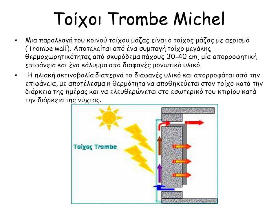 Παραλλαγές του τοίχου μάζας Trombe – Michel Ύπαρξη παραθύρων στον τοίχο, πράγμα που μειώνει την απόδοση του, και εφαρμόζεται για αισθητικούς λόγους και για χρήση φυσικού φωτισμού.