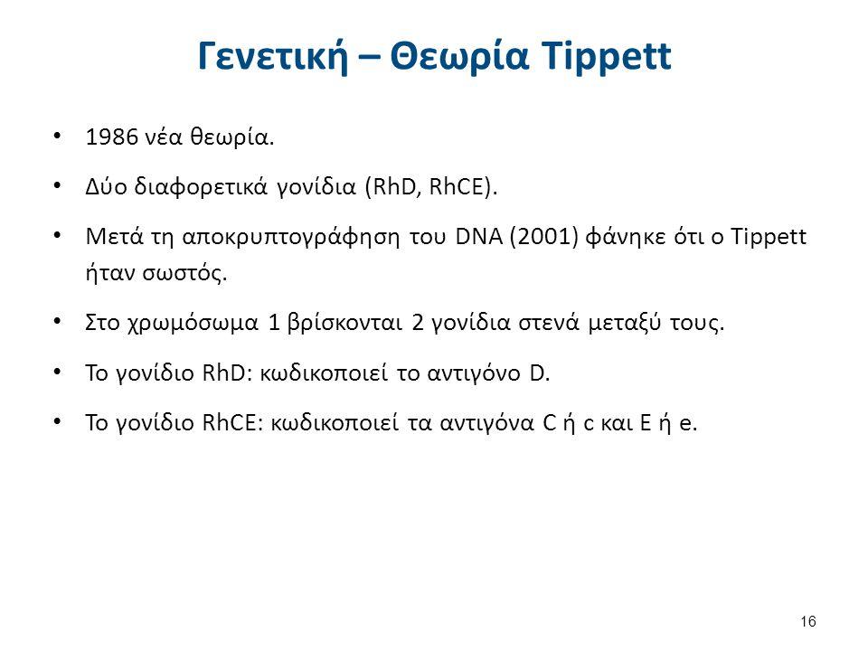 Γενετική – Θεωρία Tippett 1986 νέα θεωρία.Δύο διαφορετικά γονίδια (RhD, RhCE).