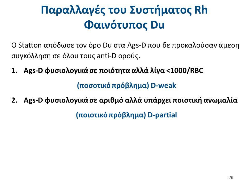 Παραλλαγές του Συστήματος Rh Φαινότυπος Du O Statton απόδωσε τον όρο Du στα Ags-D που δε προκαλούσαν άμεση συγκόλληση σε όλου τους anti-D ορούς.