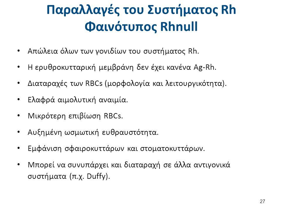 Παραλλαγές του Συστήματος Rh Φαινότυπος Rhnull Απώλεια όλων των γονιδίων του συστήματος Rh.