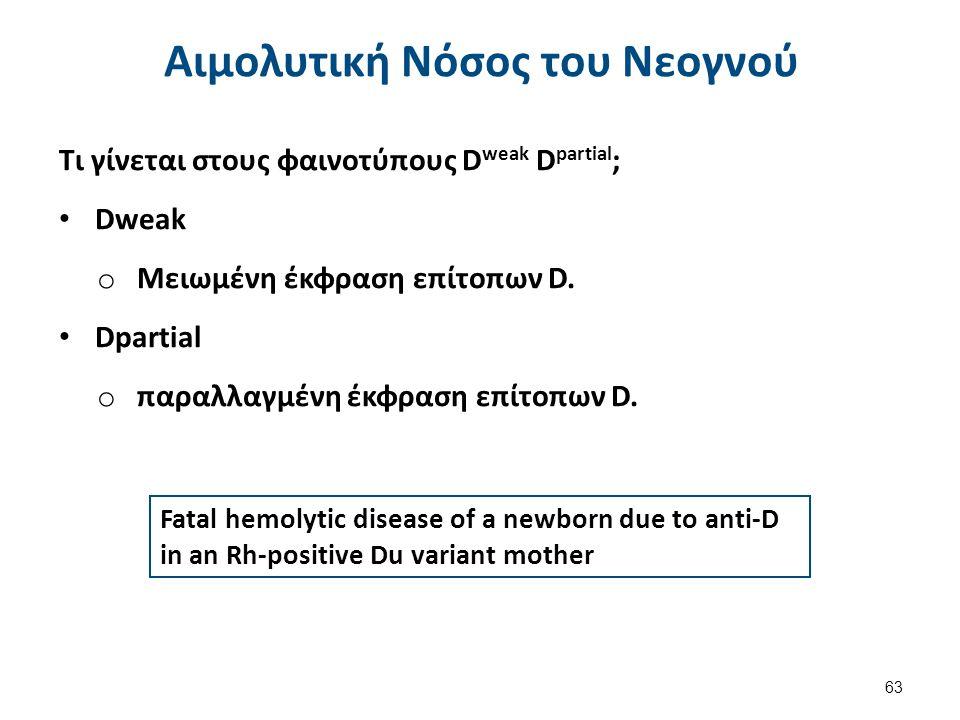 Fatal hemolytic disease of a newborn due to anti-D in an Rh-positive Du variant mother Αιμολυτική Νόσος του Νεογνού Τι γίνεται στους φαινοτύπους D weak D partial ; Dweak o Μειωμένη έκφραση επίτοπων D.