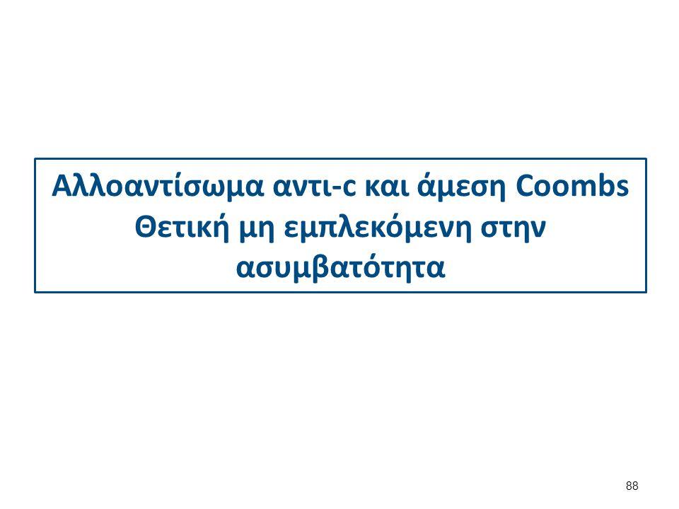 Αλλοαντίσωμα αντι-c και άμεση Coombs Θετική μη εμπλεκόμενη στην ασυμβατότητα 88