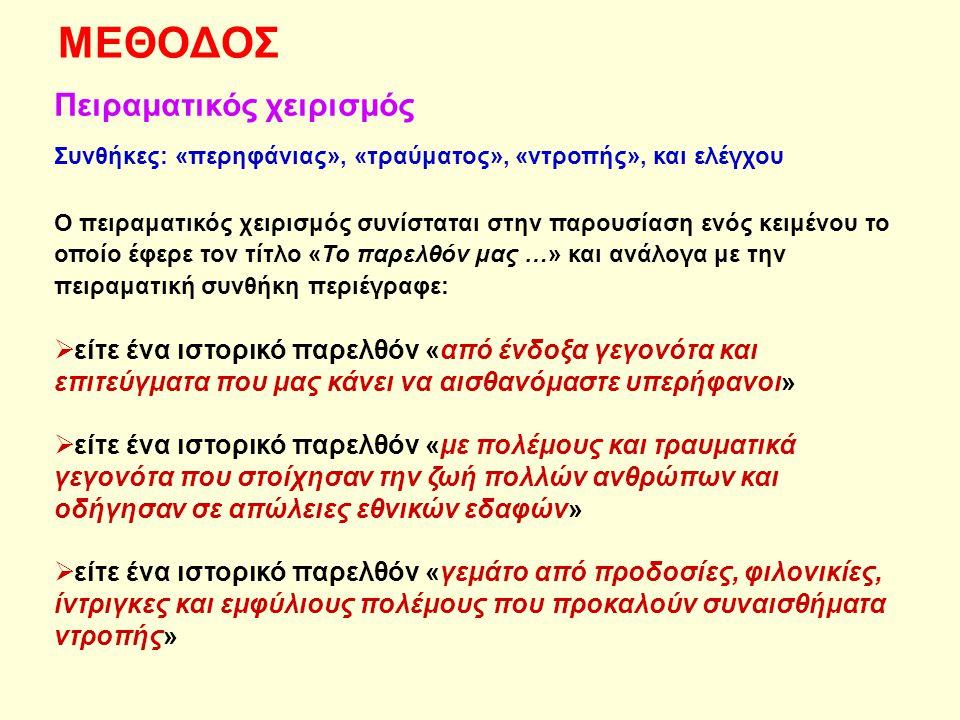 Ερωτήσεις  Φύλο  Ηλικία  Έλεγχος πειραματικού χειρισμού (συναισθήματα που προκαλεί το ιστορικό παρελθόν/πειραματική συνθήκη)  Ταύτιση με την εθνική ομάδα (κλίμακα Mummendey, Mielke, Wenzel & Kanning, 1996)  Δύο ανοιχτές ερωτήσεις: Α) Τρία ιστορικά γεγονότα μνήμης Β) Τρία ιστορικά γεγονότα λήθης  Πολιτική τοποθέτηση (1=Άκρα Αριστερά και 7=Άκρα Δεξιά)