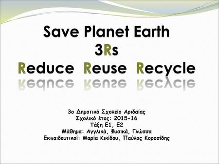 Save Planet Earth 3Rs Reduce Reuse Recycle