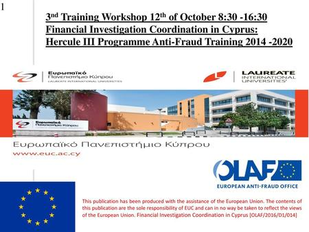 3nd Training Workshop 12th of October 8:30 -16:30