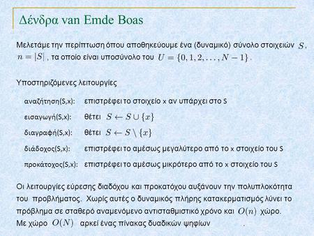 Δένδρα van Emde Boas TexPoint fonts used in EMF. Read the TexPoint manual before you delete this box.: AA A A A Μελετάμε την περίπτωση όπου αποθηκεύουμε.
