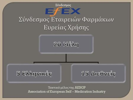 Τακτικό μέλος της AESGP Association of European Self – Medication Industry Σύνδεσμος.