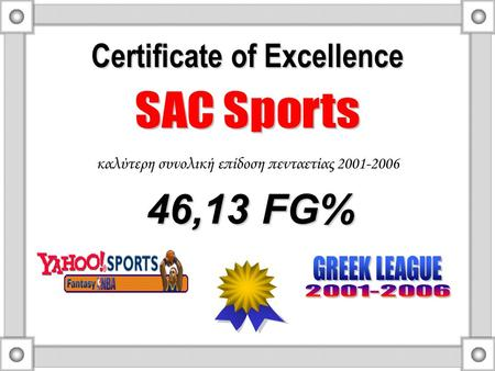 Certificate of Excellence καλύτερη συνολική επίδοση πενταετίας 2001-2006 46,13 FG% 46,13 FG%