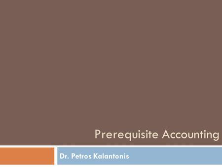 Prerequisite Accounting